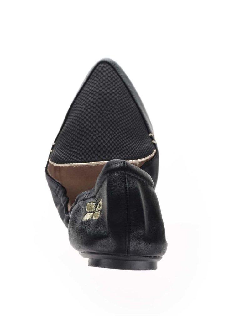 Čierne baleríny s hadím vzorom do kabelky Butterfly Twists Amber