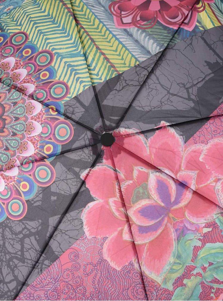 Šedo-růžový vzorovaný deštník Desigual Seduccio