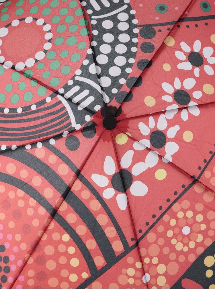 Umbrelă Desigual Lluka portocalie cu model