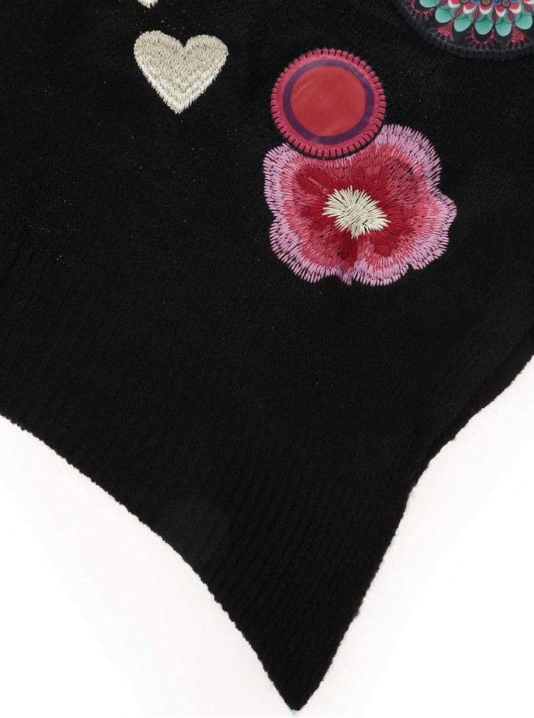 Černá šála s barevnými vzory Desigual Yeah!!!