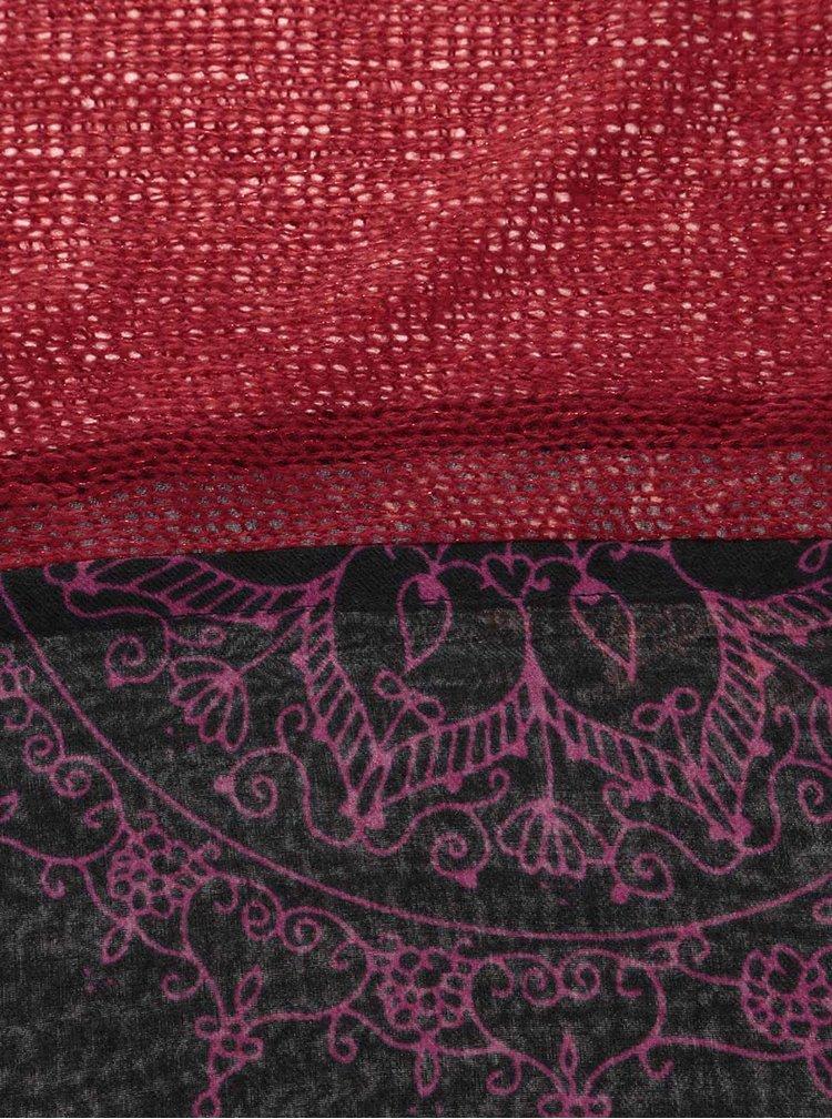 Esarfa Desigual Mixto Bicolor rosu cu negru
