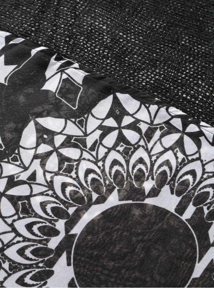 Krémovo-čierna vzorovaná šatka Desigual Geofresh Mixto