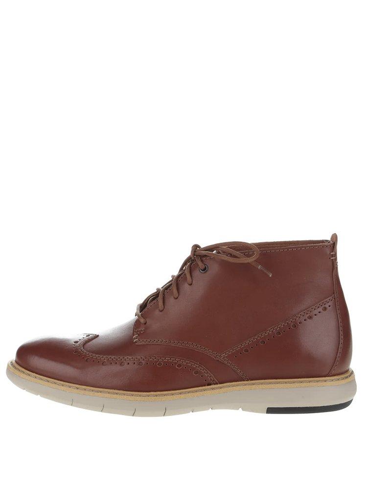 Hnedé pánske kožené členkové topánky Clarks Flexton Mid