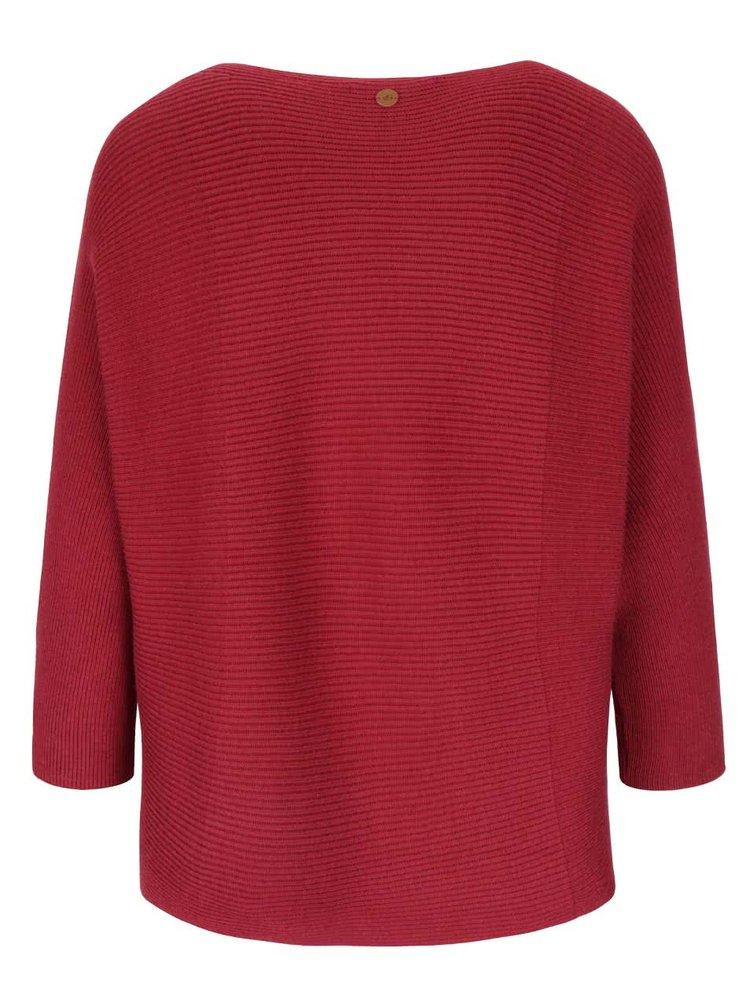 Vínový dámský svetr s tříčtvrtečním rukávem s.Oliver