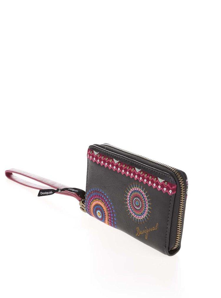 Černá koženková peněženka s vyšivkou Desigual Mini Greta