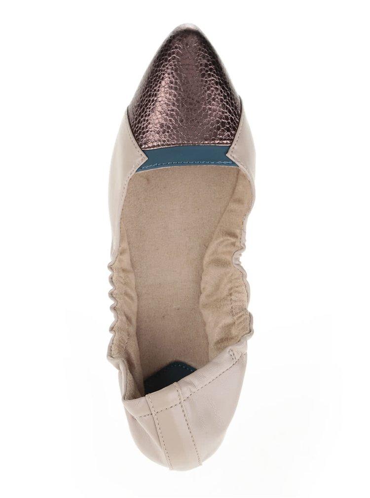 Béžové baleríny so špičkou v bronzovej farbe do kabelky Butterfly Twists  Imogen