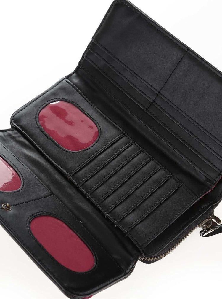 Čierna koženková peňaženka s výšivkou Desigual Maria Greta