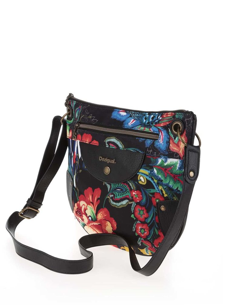 Černá crossbody kabelka s barevnými květy Desigual Brooklyn Dunia