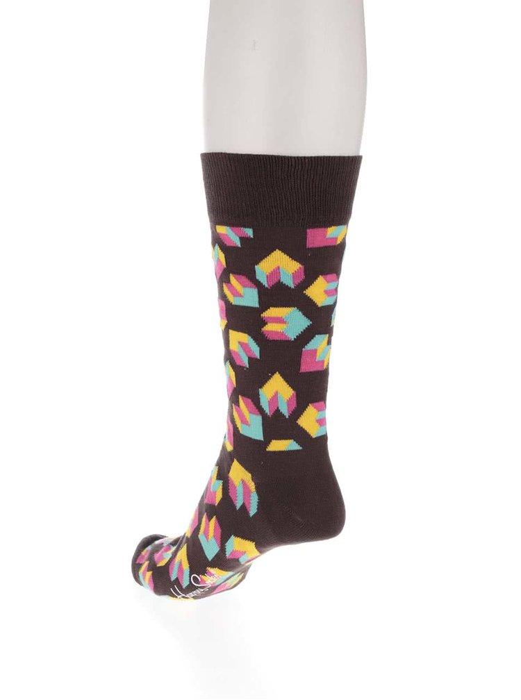 Hnědé pánské ponožky se vzorem Happy Socks Steps