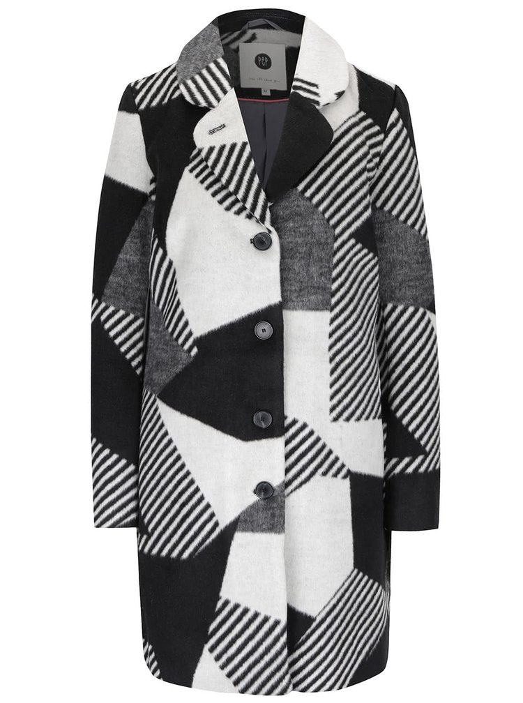 Krémovo-černý dámský kabát PEP Sahara