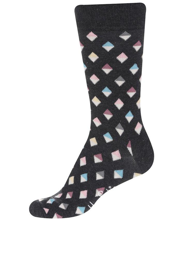 Tmavě šedé pánské ponožky se vzorem Happy Socks Mini Diamond