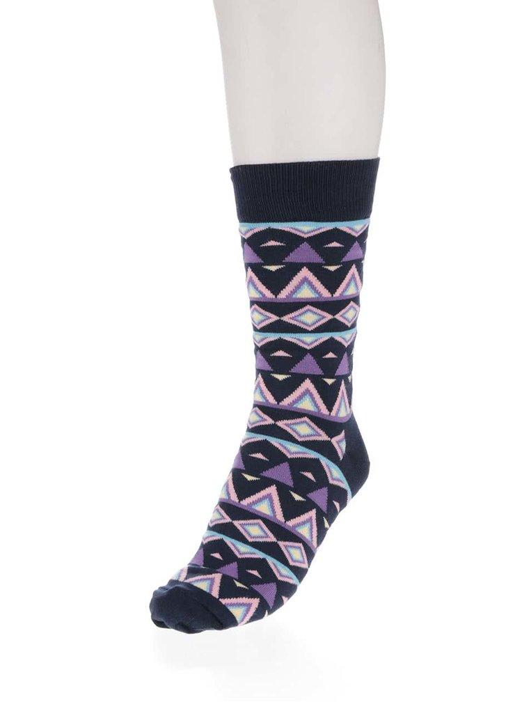 Tmavomodré pánske ponožky so vzorom Happy Socks Temple