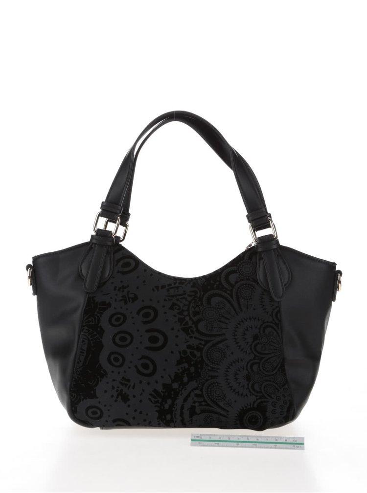 Černá kabelka se vzorem v semišové úpravě Desigual Mini Rotterdam Velvet