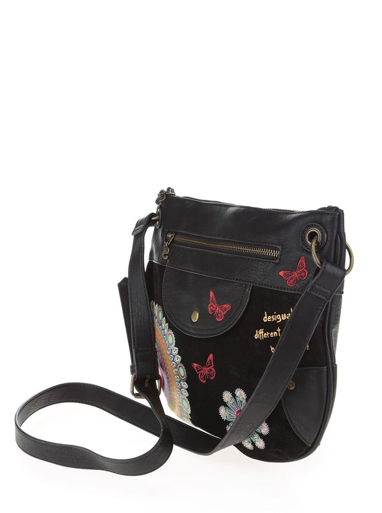 Černá koženková crossbody kabelka Desigual Brooklyn Candy