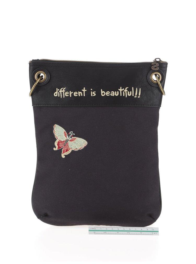 Tmavě šedá crossbody kabelka s motýly a flitry Desigual Bandolera Felicia