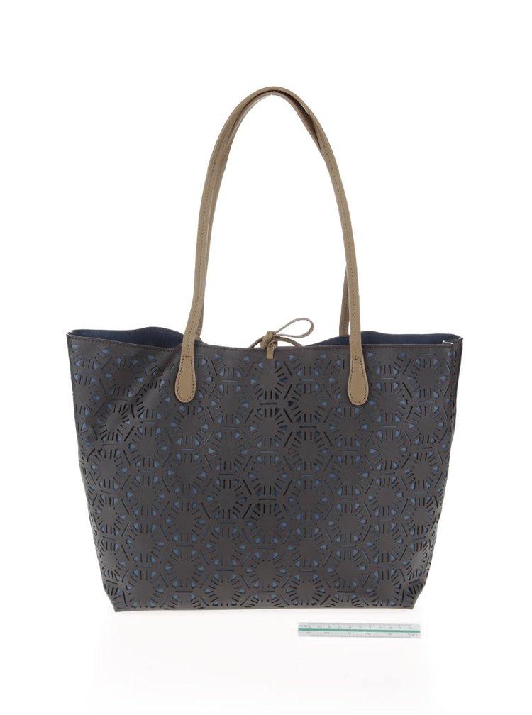 Geanta shopper Desigual Capri Olga albastru cu maro