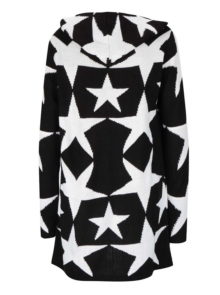 Krémovo-čierny kardigan s kapucňou Haily's Starry