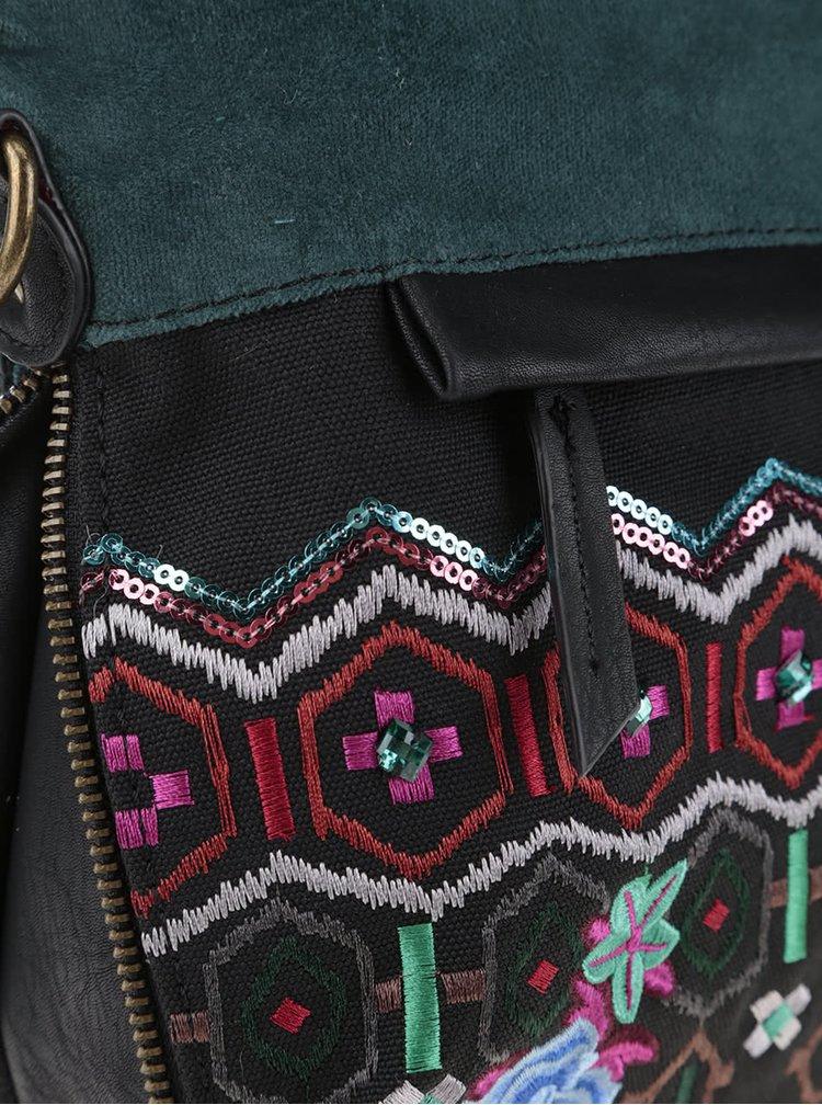 Čierno-zelená crossbody kabelka Desigual Folded Eternal