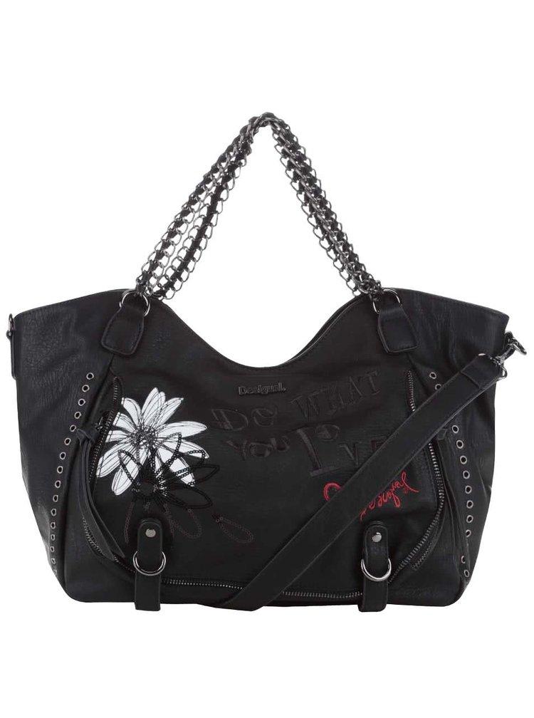 Černá kabelka s bílým květem Desigual Rotterdam Black Daisy
