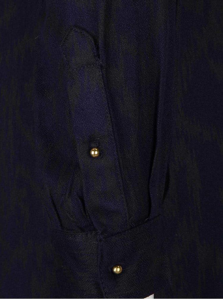 Tmavomodré košeľové šaty so vzorom a detailmi v zlatej farbe PEP Fallon