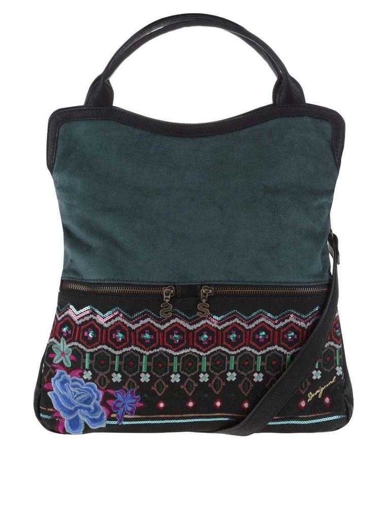 Čierno-zelená kabelka s farebnými kamienkami Desigual Cordoba Eternal