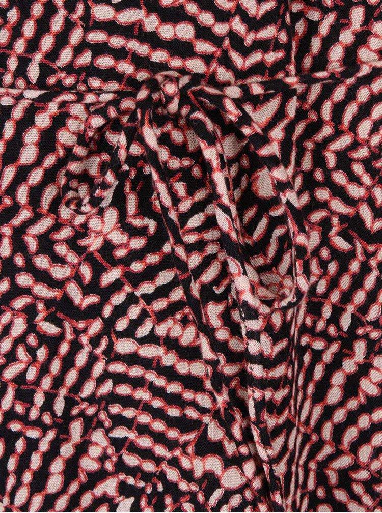 Červeno-čierne vzorované šaty s 3/4 rukávom PEP Fifi