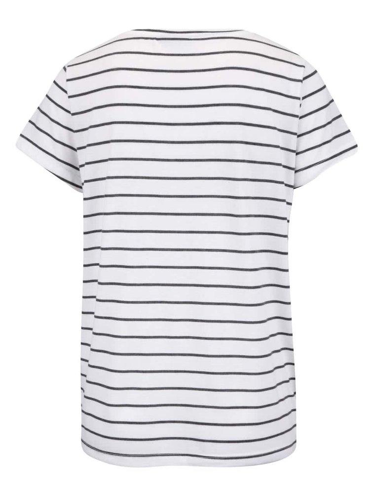 Krémové pruhované tričko s nášivkou VERO MODA