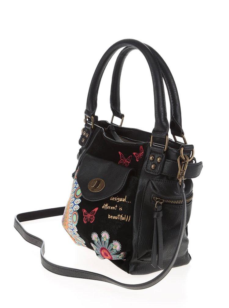 Čierna kabelka s červenými motýlikmi Desigual McBee Mini Candy