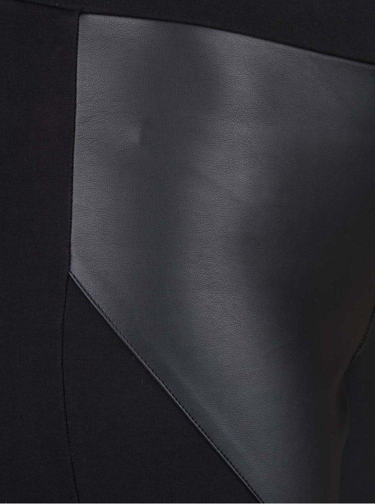 Čierne legíny s koženkovými detailmi Desires Gerda