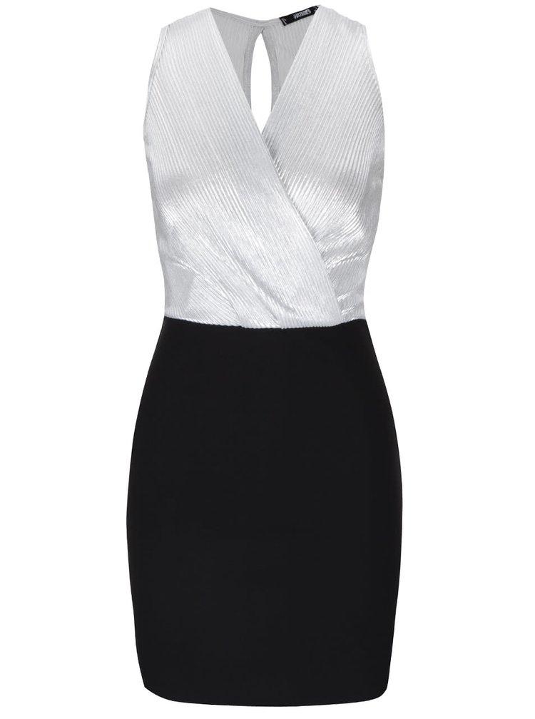 Čierne šaty s prekladaným topom v striebornej farbe Haily's Shirley