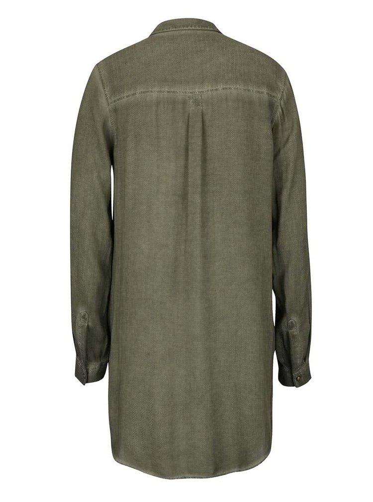 Camasa lunga verde inchis cu aspect decolorat s.Oliver