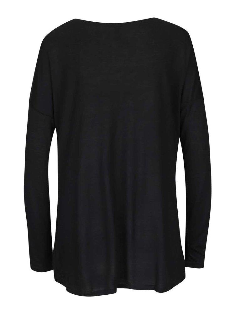 Černé tričko s potiskem a dlouhými rukávy Madonna Lilou