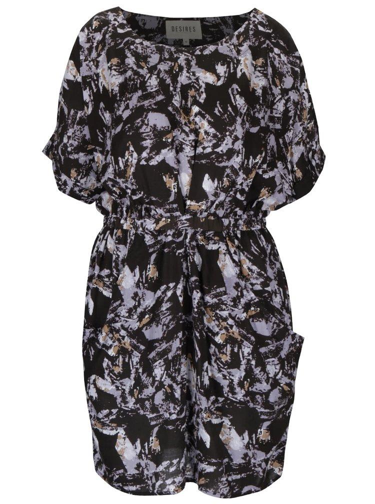 Fialovo-černé vzorované šaty Desires Gulla