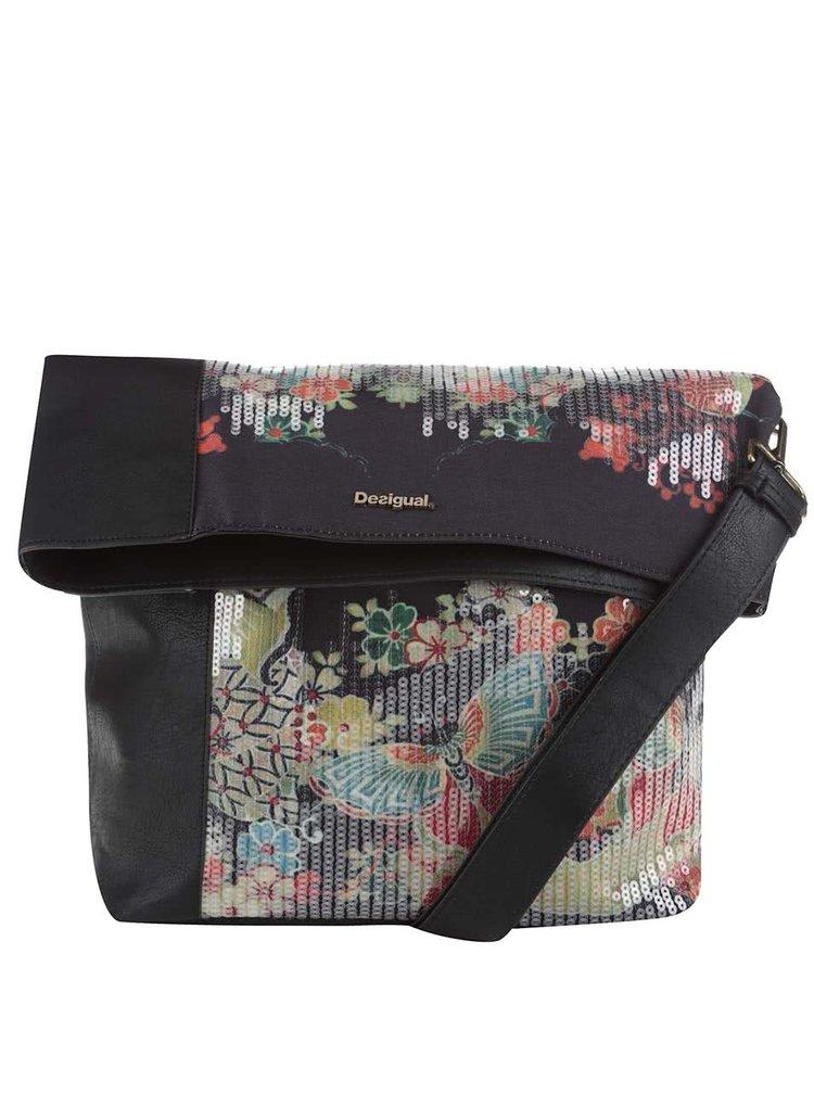 Čierna crossbody kabelka s motýlikmi a flitrami Desigual Ibiza Felicia