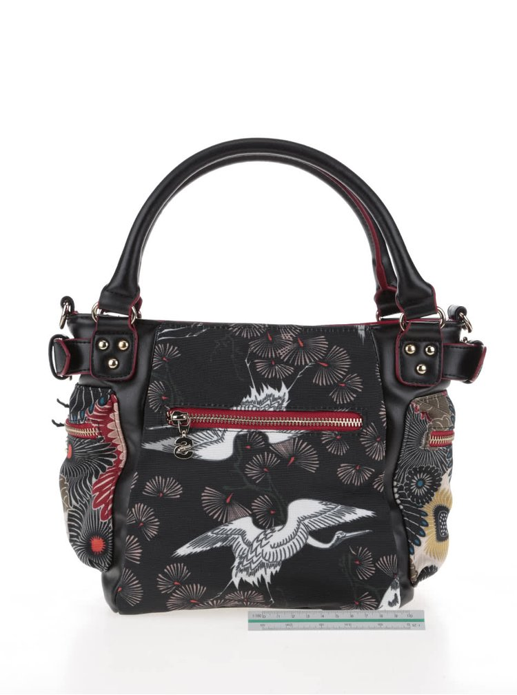 Béžovo-černá kabelka s barevným potiskem a kapsami Desigual McBee Mini Japan Fresh