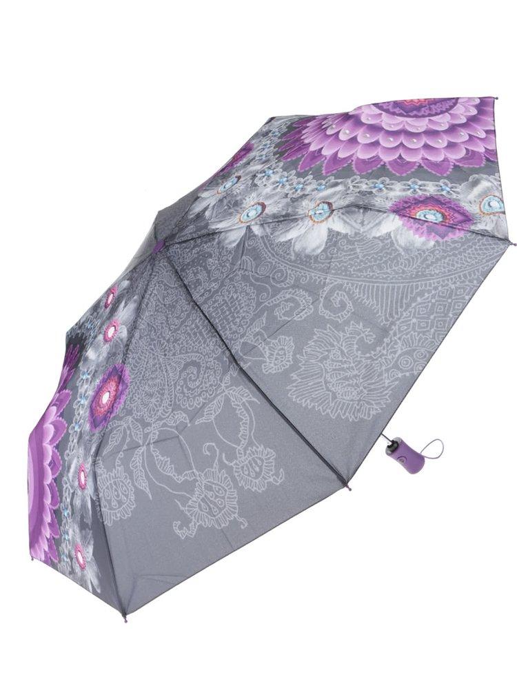 Umbrelă Desigual Bollywood gri cu model