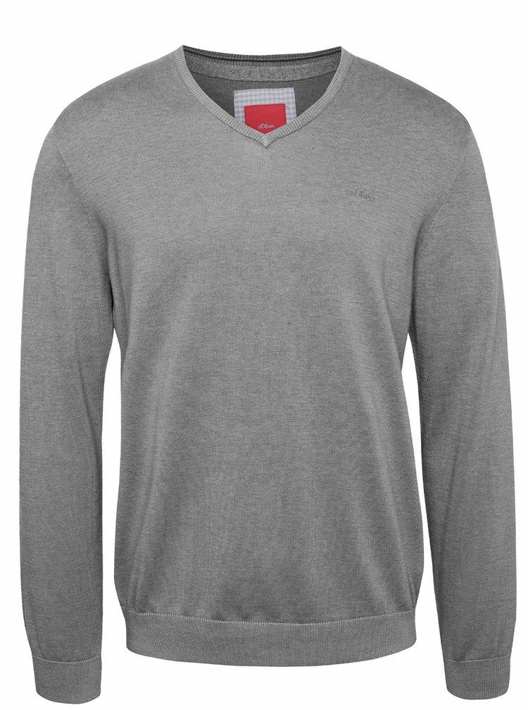 Bluză gri închis s.Oliver din bumbac cu model discret