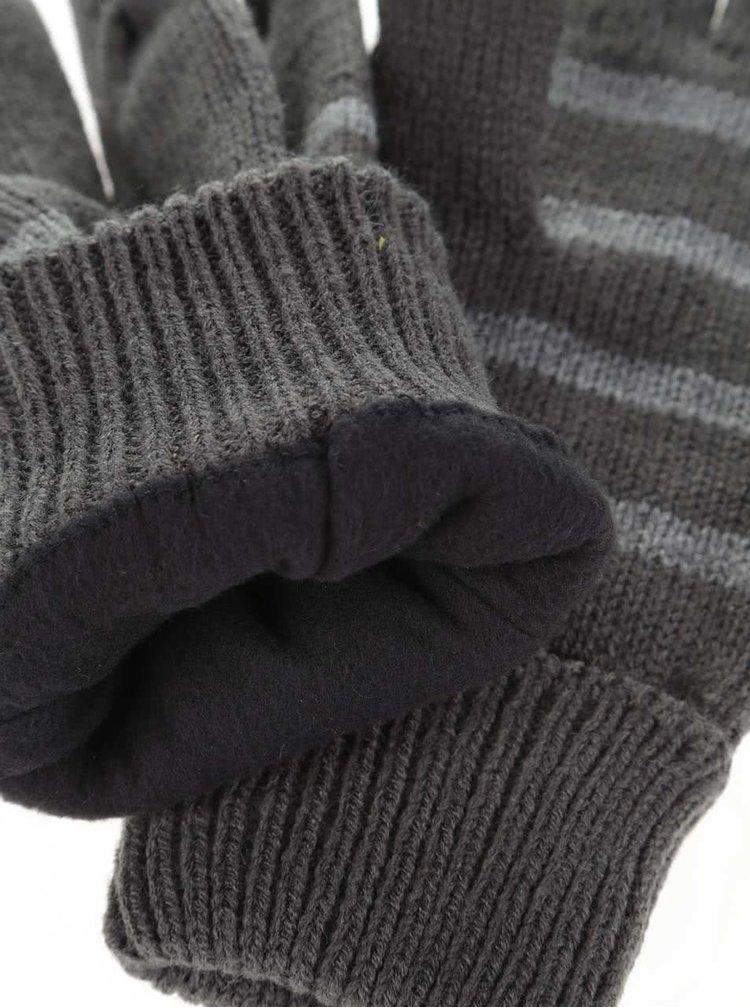 Šedé pruhované rukavice Blend