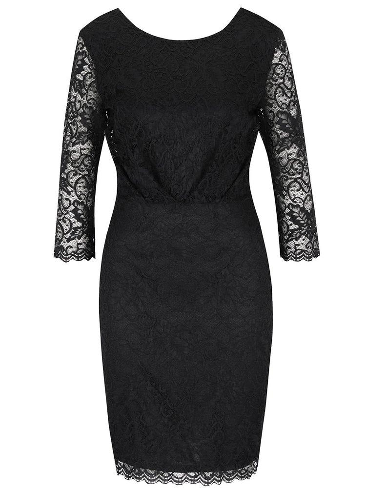 Černé krajkované šaty s tříčtvrtečním rukávem VILA Karen
