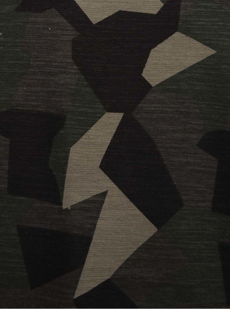 Šedo-zelené maskáčové triko Blend