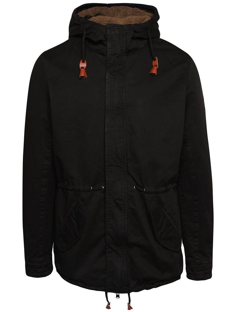 Čierna bunda s kapucňou Blend