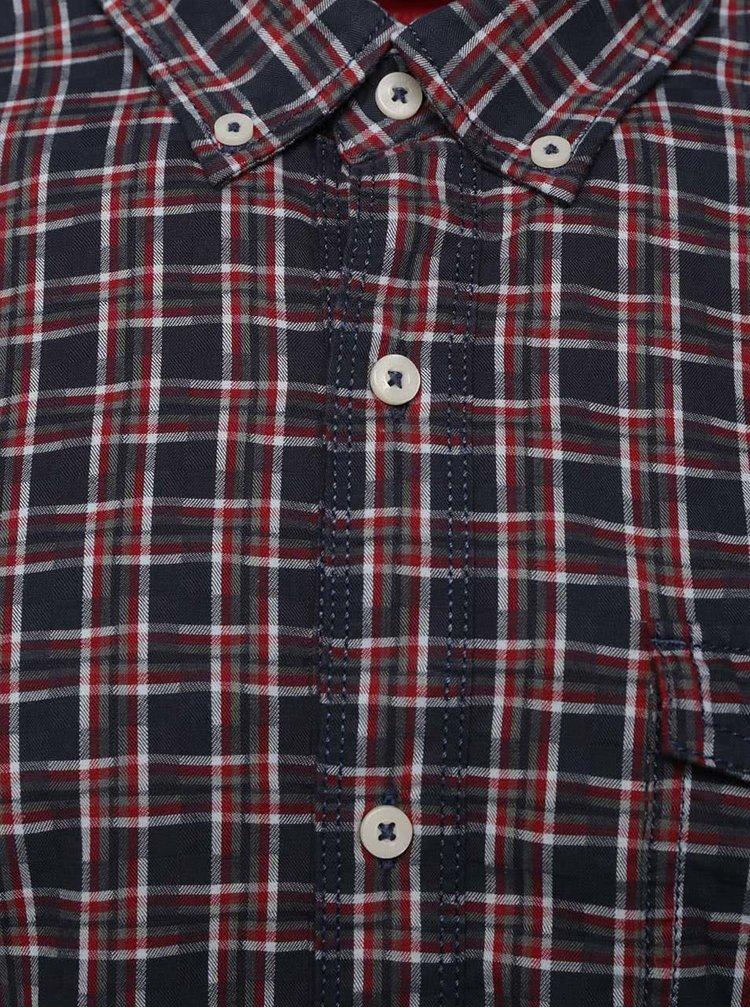 Červeno-modrá pánska kockovaná košeľa s.Oliver