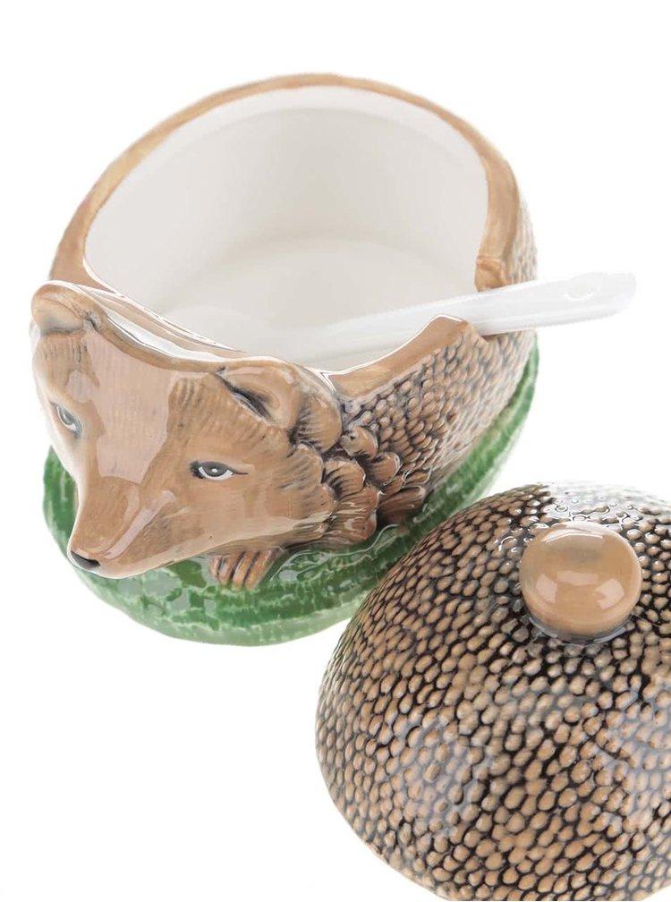 Hnědá keramická cukřenka ve tvaru ježka Cath Kidston