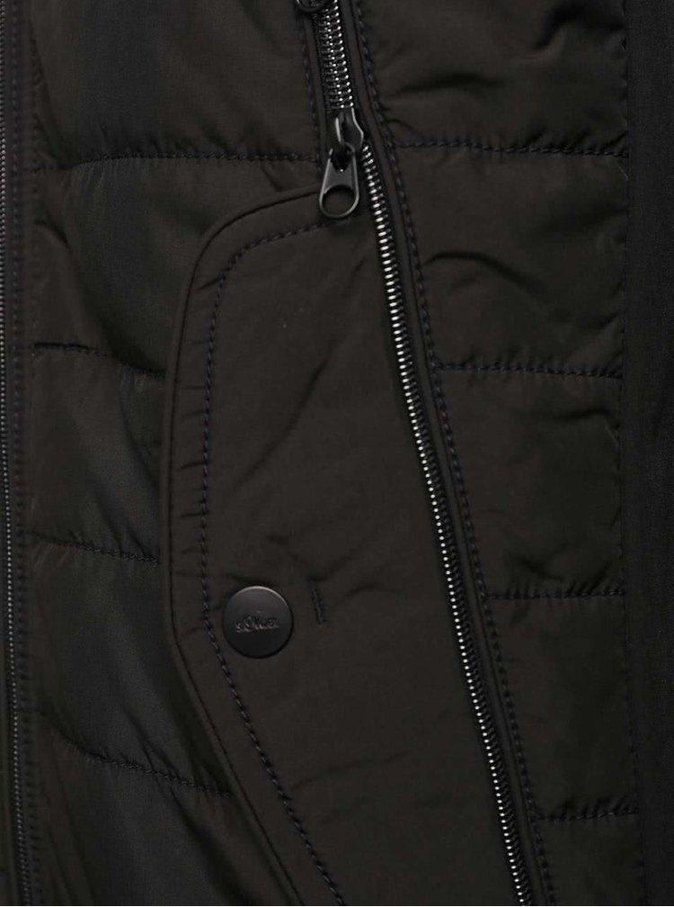 Čierna pánska bunda s vreckami s.Oliver