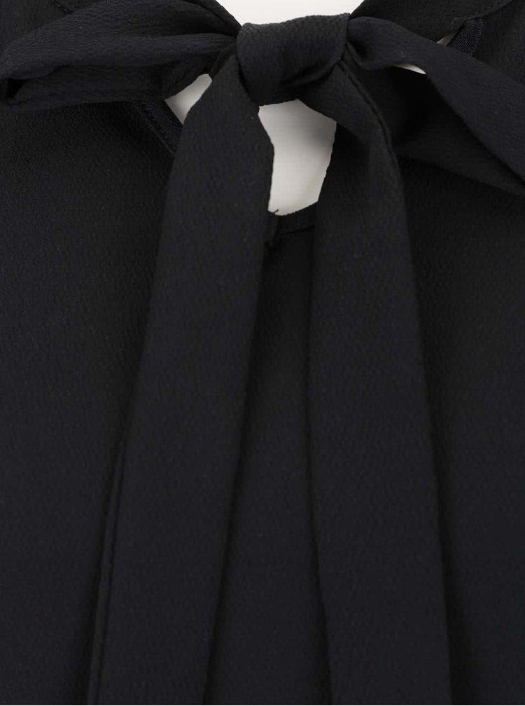 Černá halenka s vázankou a dlouhým rukávem Rich & Royal