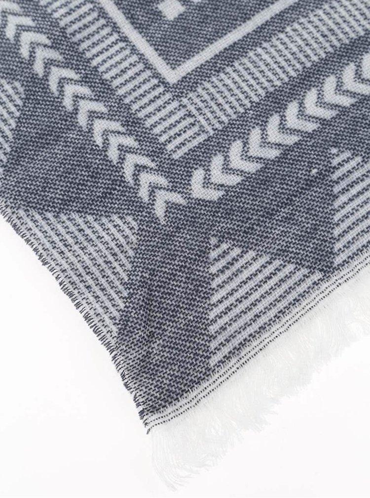 Krémovo-modrý vzorovaný šál Haily's Antonella