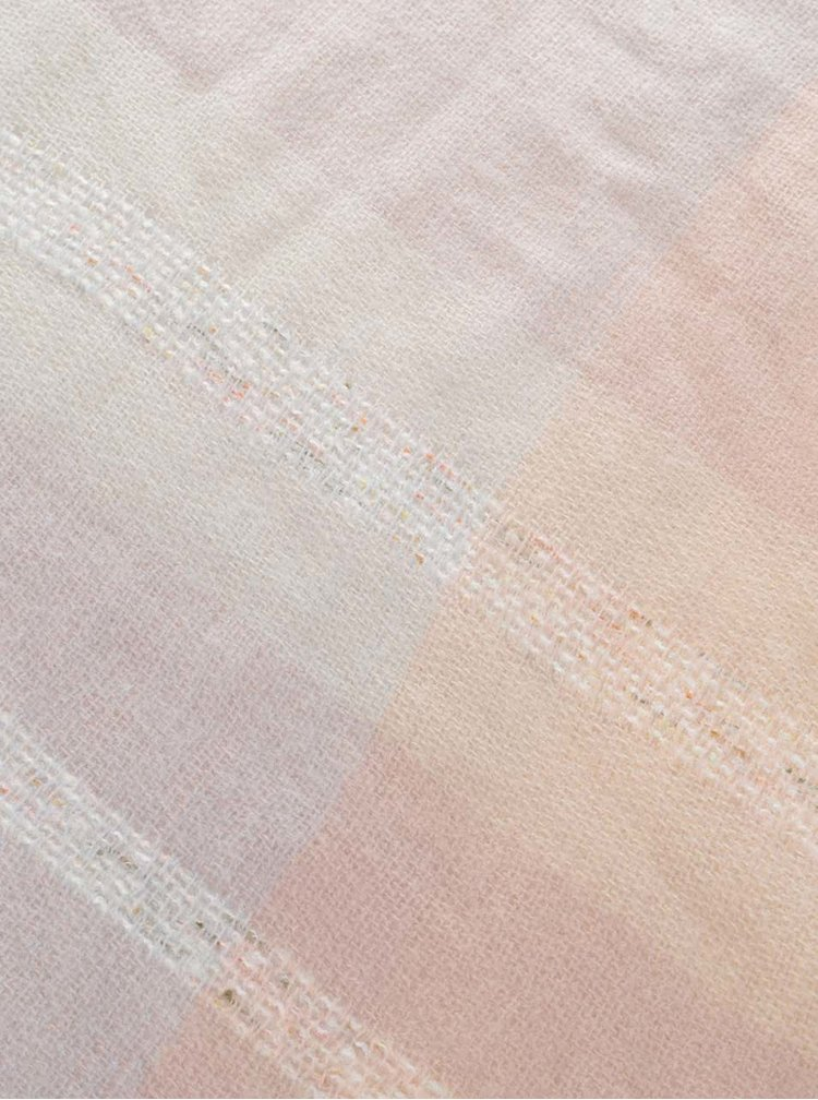 Eșarfă roz Haily´s Karo în carouri gri