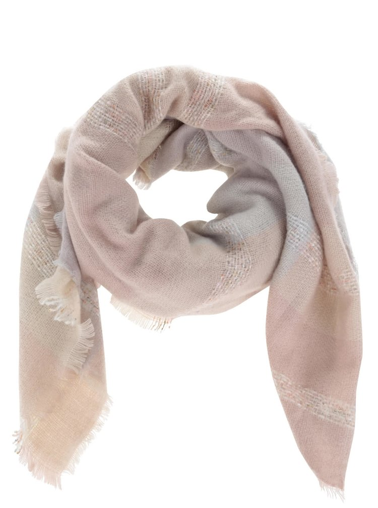 Šedo-růžová károvaná šála Haily´s Karo