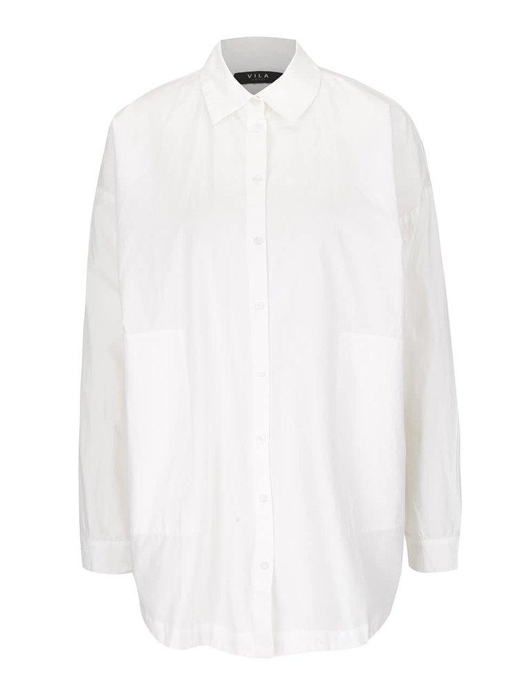 Krémová voľnejšia košeľa s rozparkom na chrbte VILA Sagin