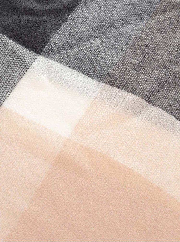 Růžovo-šedá károvaná šála Haily´s Lilly